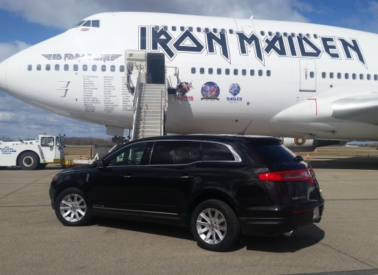 We met Iron Maiden on the hanger to pick them up after landing their massive private plane.